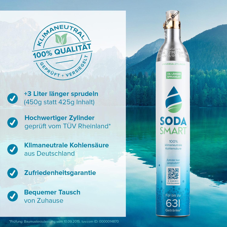 Zylinder Kohlensäure CO2 Zylinder 425g für Sodastream uvm... aarke