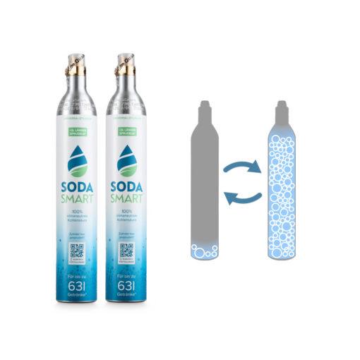 Tausch-Box zwei CO2 Zylinder für SodaStream mit Universalventil im Austausch gegen Leerzylinder